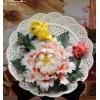 陶瓷手工牡丹花挂盘艺术摆件 新中式客厅装饰工艺品乔迁新居礼品
